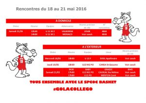 Matchs du 18 au 21 mai