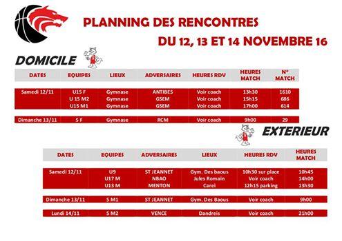 Matchs du 12 et 13 novembre