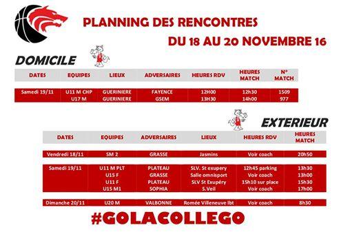 Matchs du 18 au 20 novembre