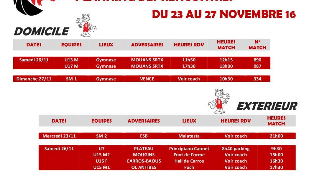 Matchs du 23 au 27 novembre