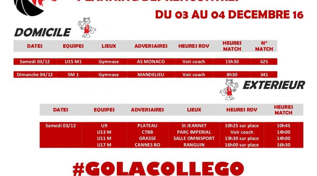 Matchs du 3 et 4 décembre