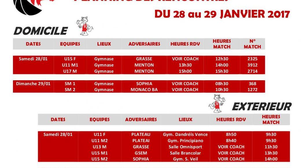 Matchs du 28 et 29 janvier