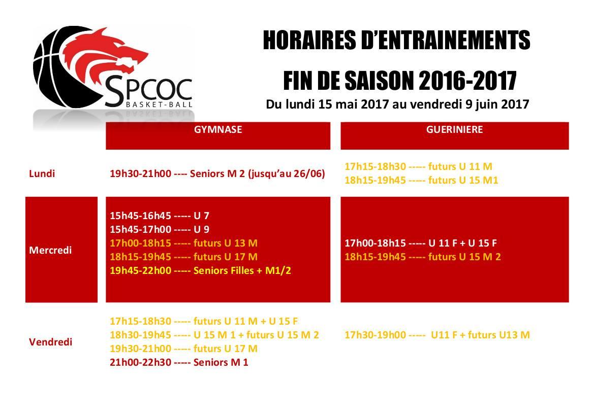 Entraînements fin de saison 2016-2017