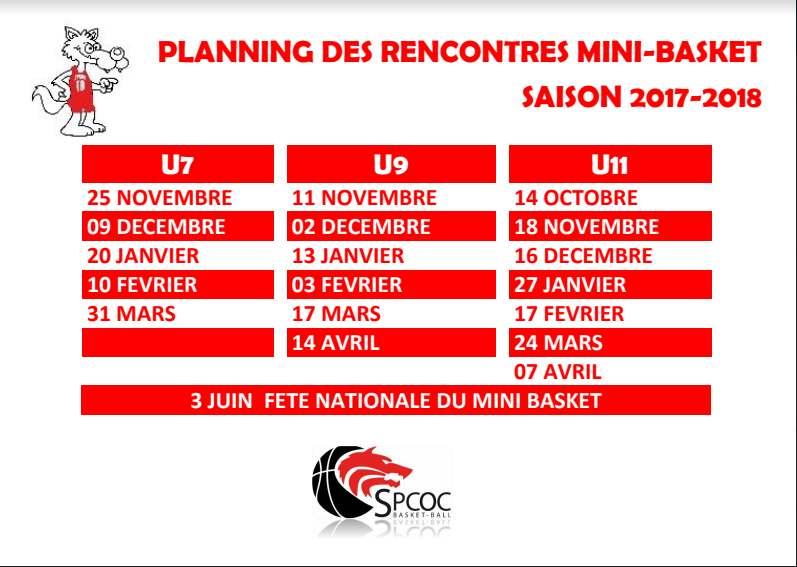 Dates de rassemblements pour le Mini-Basket 2017-2018