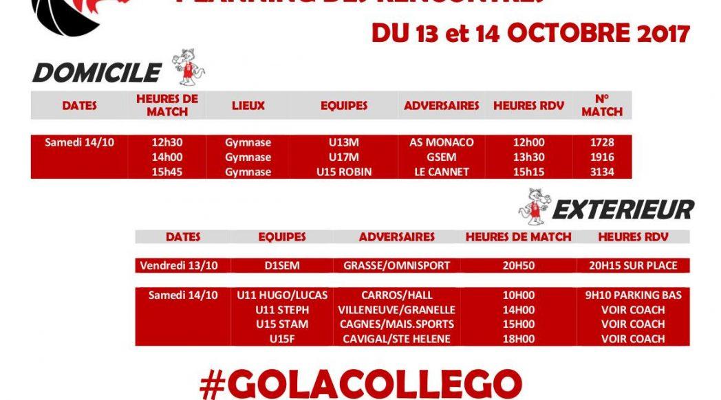 Matchs du 13 et 14 octobre