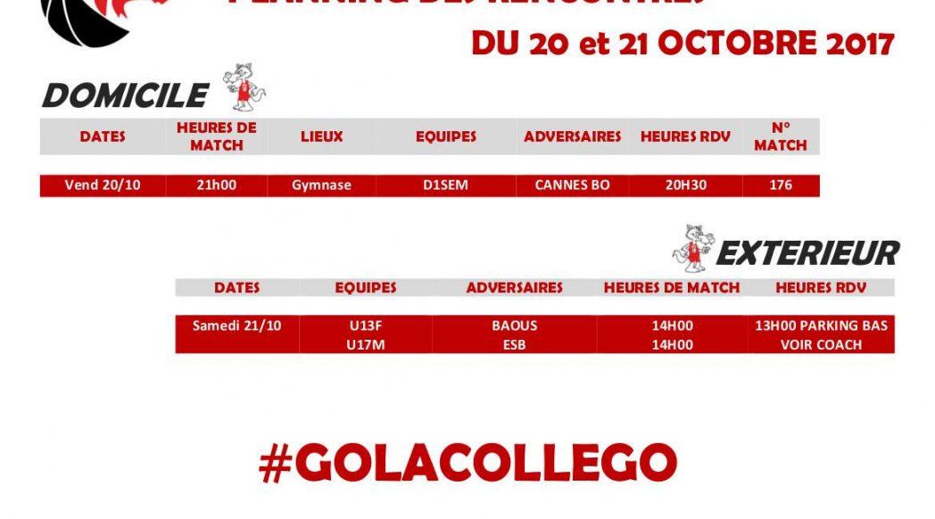 Matchs du 20 et 21 octobre