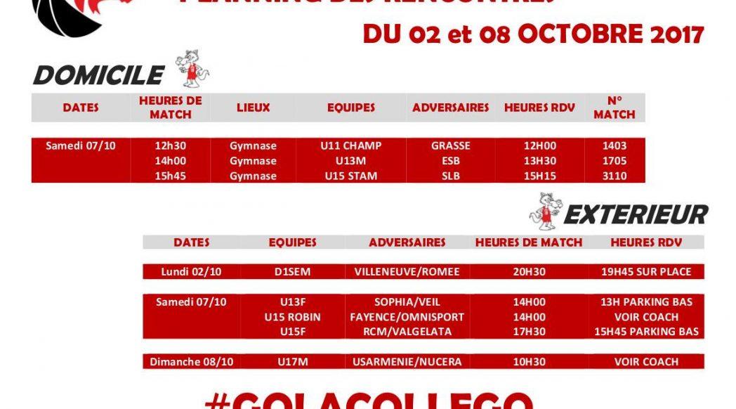 Matchs du 7 et 8 octobre