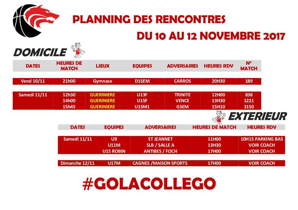 Matchs du 11 et 12 novembre