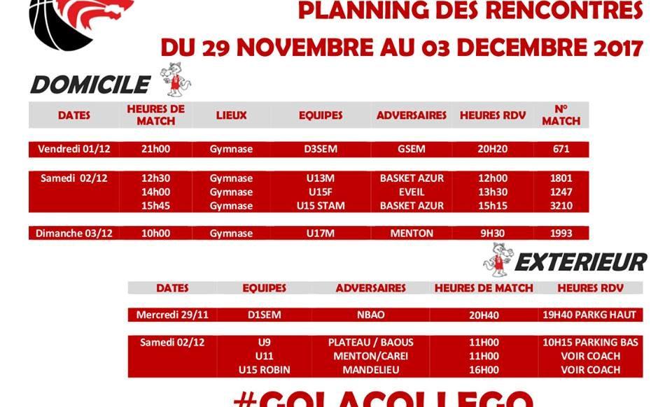 Matchs du 29 au 3 décembre