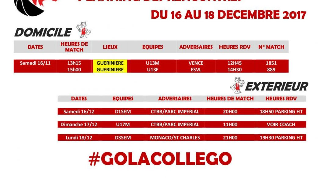Matchs du 16 au 18 décembre