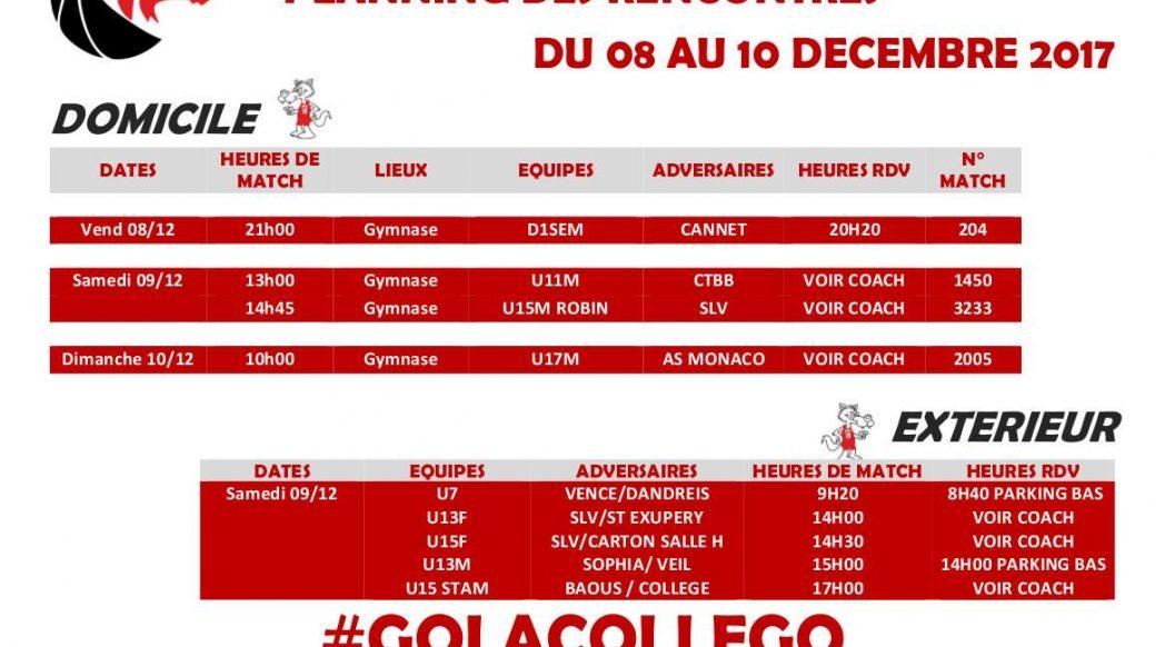 Matchs du 7 au 10 décembre