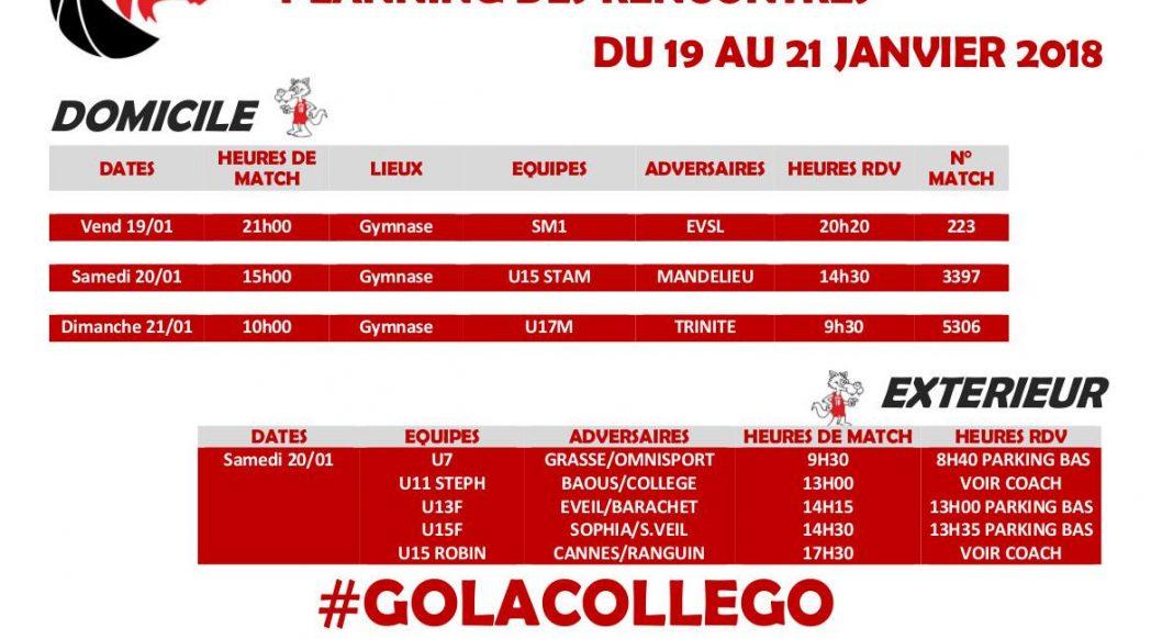 Matchs du 19 au 21 janvier