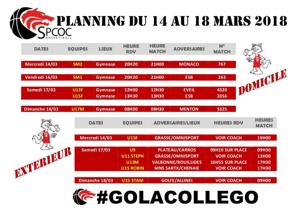 Matchs du 14 au 18 mars