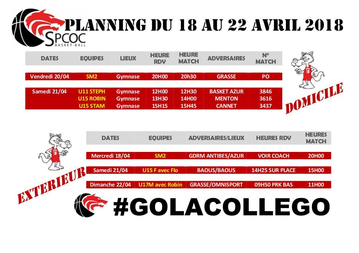 Matchs du 18 au 22 avril