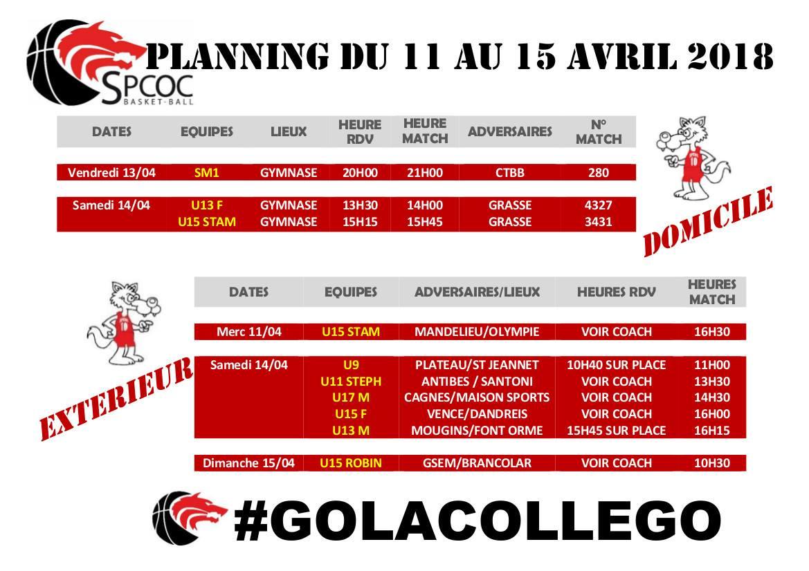 Matchs du 11 au 15 avril