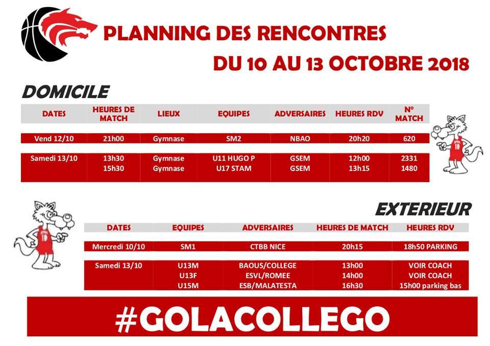 Matchs du 10 au 13 octobre