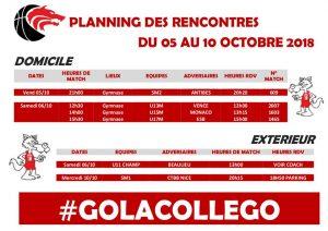 Matchs du 5 au 10 octobre
