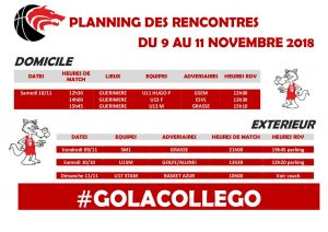 Matchs du 9 au 11 novembre