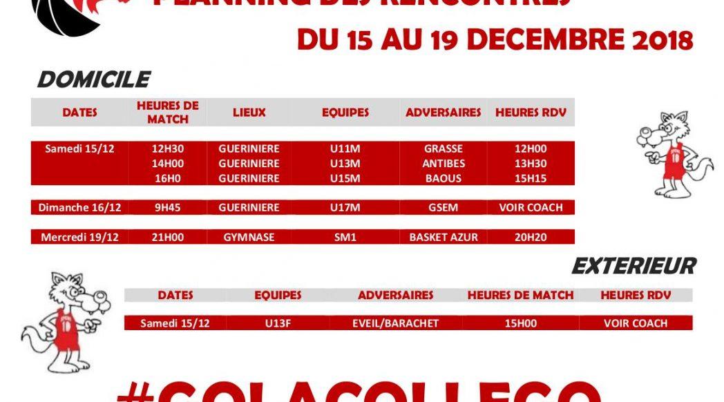 Matchs du 15 au 19 décembre